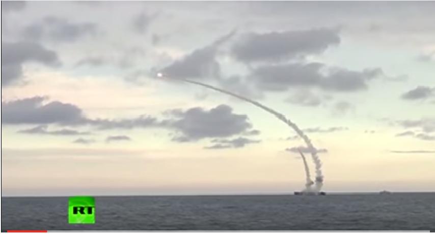 რუსეთის კასპიის ფლოტილიამ 18 ფრთოსანი რაკეტა ესროლა სირიაში განლაგებულ ისლამისტი მებრძოლების პოზიციებს (ვიდეო)