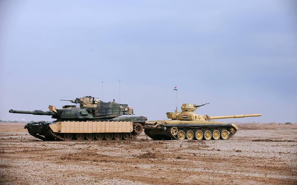 ერაყის არმიის ამერიკული M1A2 abrams ტიპის ტანკები და რუსული T-72 ტიპის ერთად ებრძვიან ისლამისტ ტერორისტებს