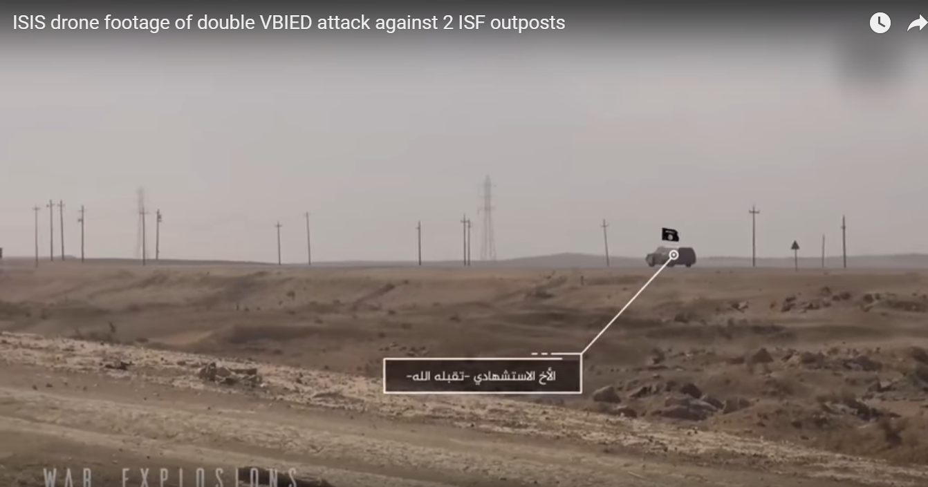ISIS დრონის მიერ გადაღებული ვიდეო კადრები ისალმისტი კამიკაძების ავტომანქანების თავდასხმა ერაყის ანტიტრორისტული შეიარაღებული ძალების ორი საგუშაგოზე და ერაყის არმიის სამხედრო კოლონაზე.