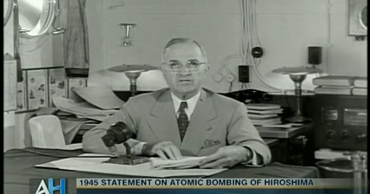 ამერიკის პრეზიდენტ ჰარი ტრუმენის განცხადება ჰიროსიმას დაბომბვის შესახებ (ვიდეო)