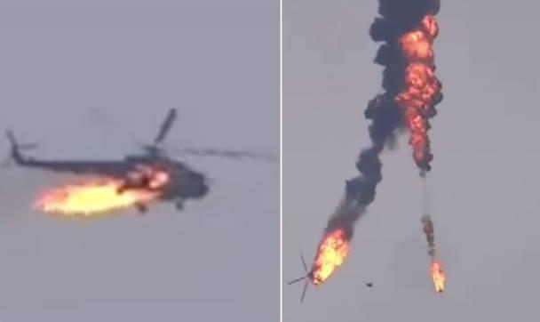 """თურქეთმა სირიაში  """"რუსული"""" ми-17 ტიპის სამხედრო შვეულფრენი   ჩამოაგდო (ვიდეო)"""