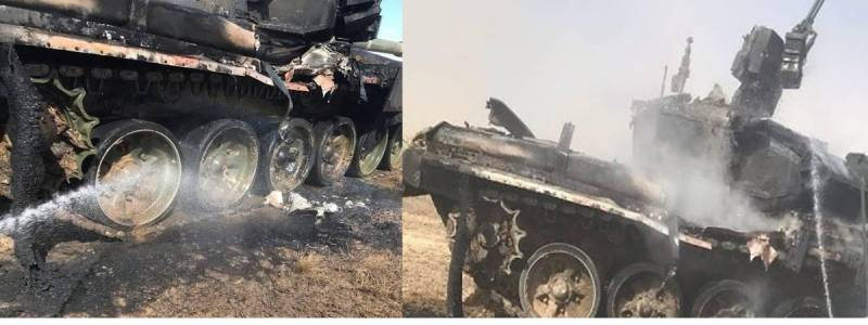 """რუსეთში Т-90А  ტანკს სწავლებაზე """"Конкурс""""ტიპის ტანკსაწინააღმდეგო მართავადი რაკეტა მოხვდა."""