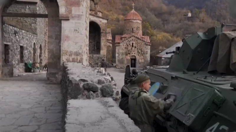 რუსი სამშვიდობოები უზრუნველყოფენ მთიანი ყარაბაღში დადივანკის ტაძრის უსაფრთხოებას. ვიდეო